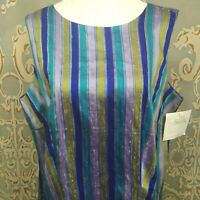 Lane Bryant Sleevless Raw Silk Shell Top Button Back Striped Purple Green Blue