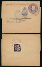 MEXICO STATIONERY WRAPPER to BELGIUM 1c + 1c with 5c ADDED for CHARGE 1955