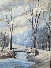 Antiquität Ölgemälde Winter Landschaft Fluss Schnee Brücke Wald Ölbild