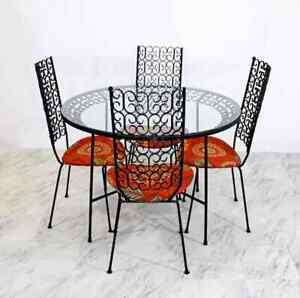 Mid Century Modern Arthur Umanoff Grenada Metal Patio Set Table 4 Chairs Orange