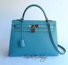HERMES Kelly 32 cm Blue Jean Epsom Palladium HW Sellier Authentic HERMÈS Rare