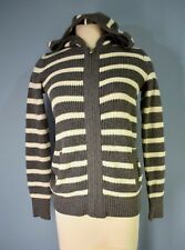 OLD NAVY Gray & White Striped Nubby Knit Zipper Cardigan Hoodie Sweater XS