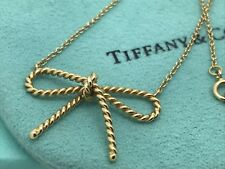 Tiffany & Co Twisted Cable Wire 18k Yellow Gold Bow Tie Pendant Necklace