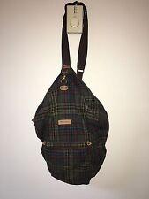 """Pendleton Traveler Sling Backpack / Duffle Bag in Brown Plaid Wool 11""""x19""""x11"""""""