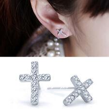 1 Pair Full Rhinestone Crosses-shaped Delicate Ear Stud Earrings Fashion Jewelry
