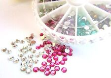800 Poly Glass 3mm Round Rhinestone Jewel Embellishment+Case/Nail Art/craft E72