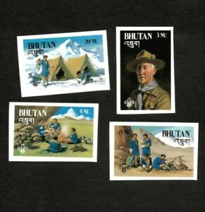 Bhutan 1982 Scott# 335-8 Boy Scouts, Camping - Imperf - Set of 4 Stamps - MNH