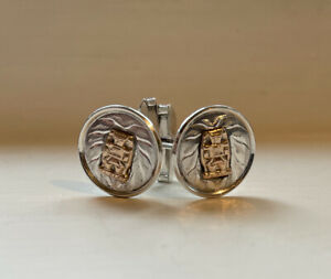 VTG TLALOC 925 Sterling & 18K Yellow Gold Accent Mens Shirt Cuff Links 10 Grams