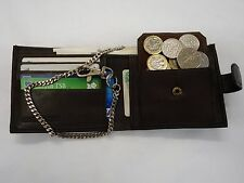 Gents Soft Leather Wallet with Security Chain Brown