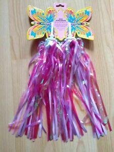 Pair of Pink Children's Child's cycle / bike handlebar sparkle streamers tassels