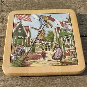 "Vintage Hand Painted Holland Inspired Trivet Ceramic 6"" Tile set Wood Pan Stand"