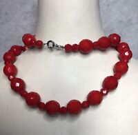 Vintage Red Glass Necklace 1980s Art Deco Style Jewellery Jewelry Faceted Beads