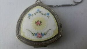 Vintage Beige White Floral Enamel Compact with Wrist finger Chain coin holder