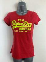 WOMENS SUPERDRY RED CASUAL SHORT SLEEVE CREW NECK BRAND PRINT T SHIRT SIZE SMALL