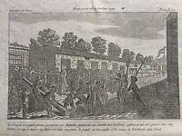 Jardins des Tuileries en 1792 Gravure ancienne Révolutions de Paris
