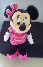 Disney Minnie Mouse Plush Doll 9 Inches With Pink Striped Dress Bow And Shoes