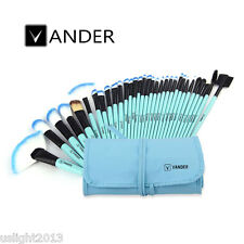 VANDER 32Pcs/Set Cosmetic Eyebrow Shadow Blue Beauty Makeup Brushes + Pouch Bag