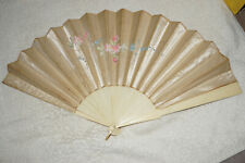 Antique white satin hand fan - celluloid - large - 12 inches