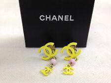 AUTH Chanel CC logo Yellow & Pink Clip-On earring 5H180301#