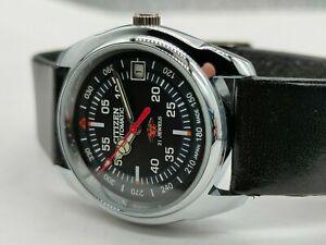 citizen automatic men's steel black dial vintage japan made watch run order