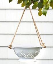 White Ceramic Colander Hanging Planter Country Porch Patio Deck Tree Garden