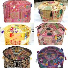 Indien Vintage Embroidered Patchwork Round Seating Pouf Cover Footstool Multi