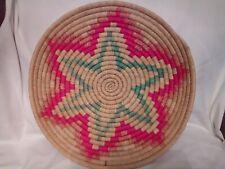 Vintage Weaved Round Colourful Pinwheel Basket Tray Wall Hanging Boho Decor.