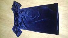 BNWT SIZE 12 OFF THE SHOULDER BLUE VELVET EFFECT DRESS