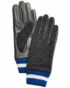 Calvin Klein Women's Leather and Wool Blend Touch Gloves Heather Mid Grey Small