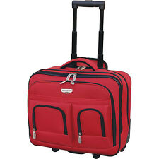 """Travelers Club Luggage 17"""" 2-Section Rolling Briefcase Wheeled Business Case NEW"""