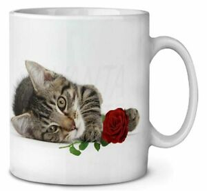 Tabby Kitten Cat with Red Rose Coffee/Tea Mug Gift Idea, AC-204RMG