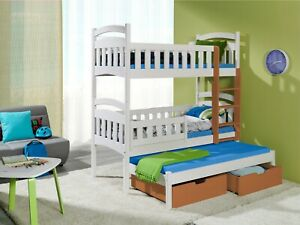 NEW Bunk Bed Triple Kids Sleeper MARIO 3 Solid Wood 3ft Single with Mattresses