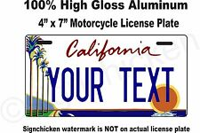 "California Custom Personalized State License Plate -Motorcycle 4"" x 7"" any text"