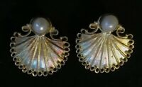 Vintage 925 Sterling Silver & Pearl Scalloped Shell Filigree Earrings