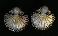 Vintage 925 Sterling Silver & Pearl Scalloped Shell Filigree Earrings