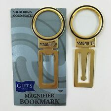 "2 Magnifier Solid Brass Goldplated Bookmarks Book Clip Art Design Metal 3"" New"