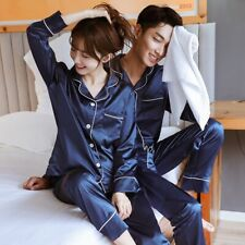 Men Women Silk Satin Pajamas Set Couple Sleepwear Lovers Unisex Nightwear Plus