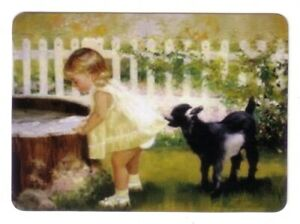 Beautiful Little Girl With a Goat  - Modern Wide Linen Swap Playing Card