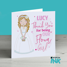 Thank You for being our flower Girl Card , Blonde Brown Ginger Long Hair