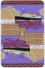 Playing Cards 1 Single Swap Card Old Vintage NEW ZEALAND SHIPPING Co NZSC Ship 6