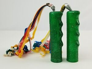 Vintage Pair Bicycle handlebar Green Glitter Grips w/ Streamers Multi-color 4.5""