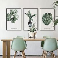 Watercolor Plants Leaves Canvas Art Vintage Poster Prints Home Wall Decoration