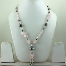 NECKLACE NATURAL ROSE QUARTZ GEMSTONE BEADED 54 GRAMS