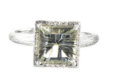 14k White Gold Green Amethyst & Diamond Accented Ring Size 7.25-- 3.7g