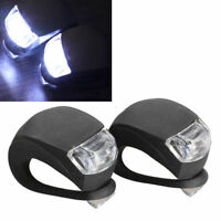 2x LED Bicycle Bike Cycling Silicone Head Front Rear Wheel Safety Light Lamp
