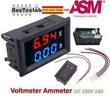 DC 100V 10A Voltmeter Ammeter Blue + Red LED Amp Dual Digital DC Volt Meter