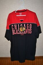 NHL Chicago Blackhawks Red Black T Shirt 3XL V Neck Reebok Applique Logo