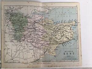 Kent, England, 1880 Original Antique Railway Map Bartholomew, Philip