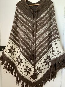 Wool Poncho Brown & White Festival Hippy One Size