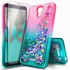 For Wiko Ride / Cricket Icon Case, Liquid Glitter Phone Cover + Tempered Glass